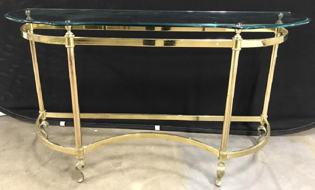 Serpentine Console Table W Glass Top &Brass Base
