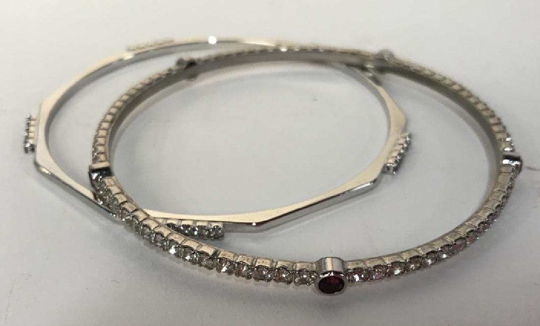 Set of silver toned Rhinestone Bangle Bracelets