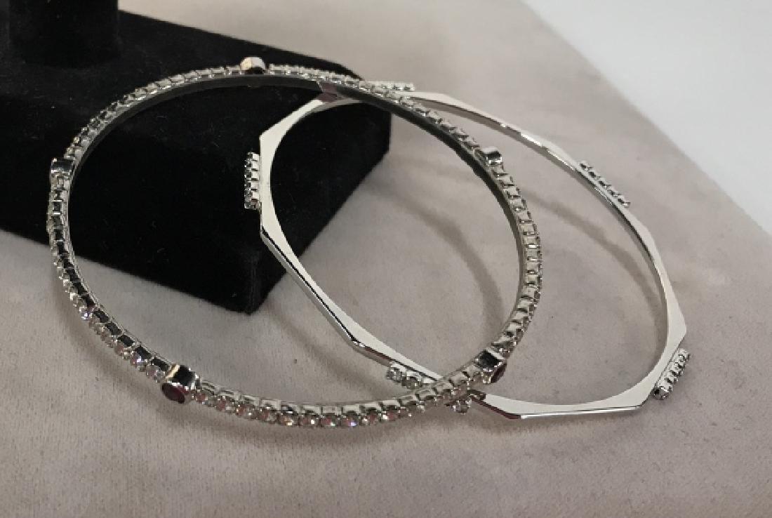 Set of silver toned Rhinestone Bangle Bracelets - 4