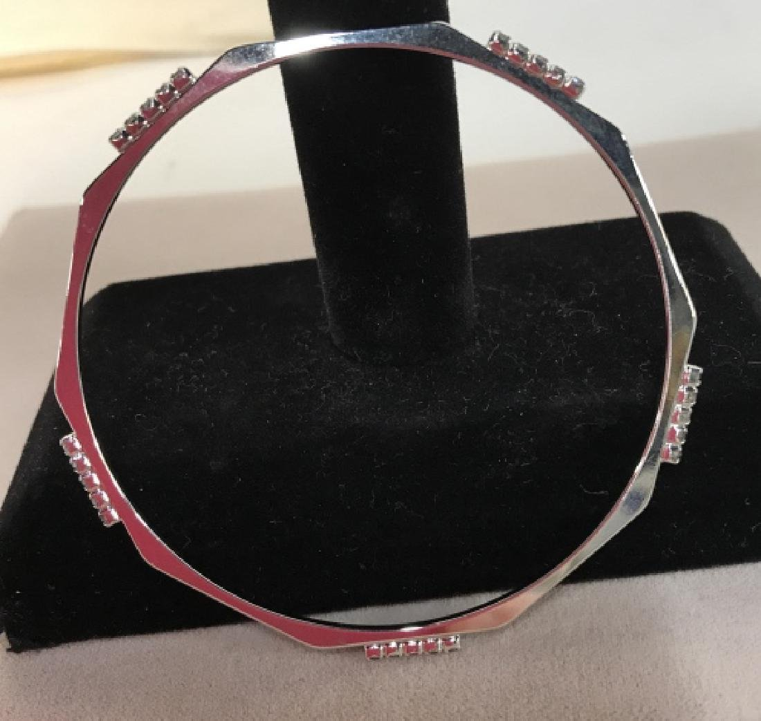 Set of silver toned Rhinestone Bangle Bracelets - 7