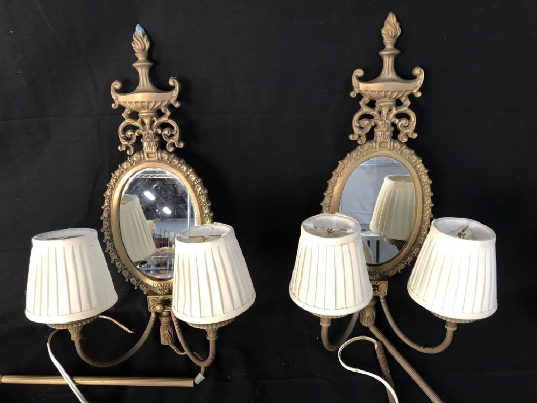 Pair Wall Sconces With Electrified Candelabras