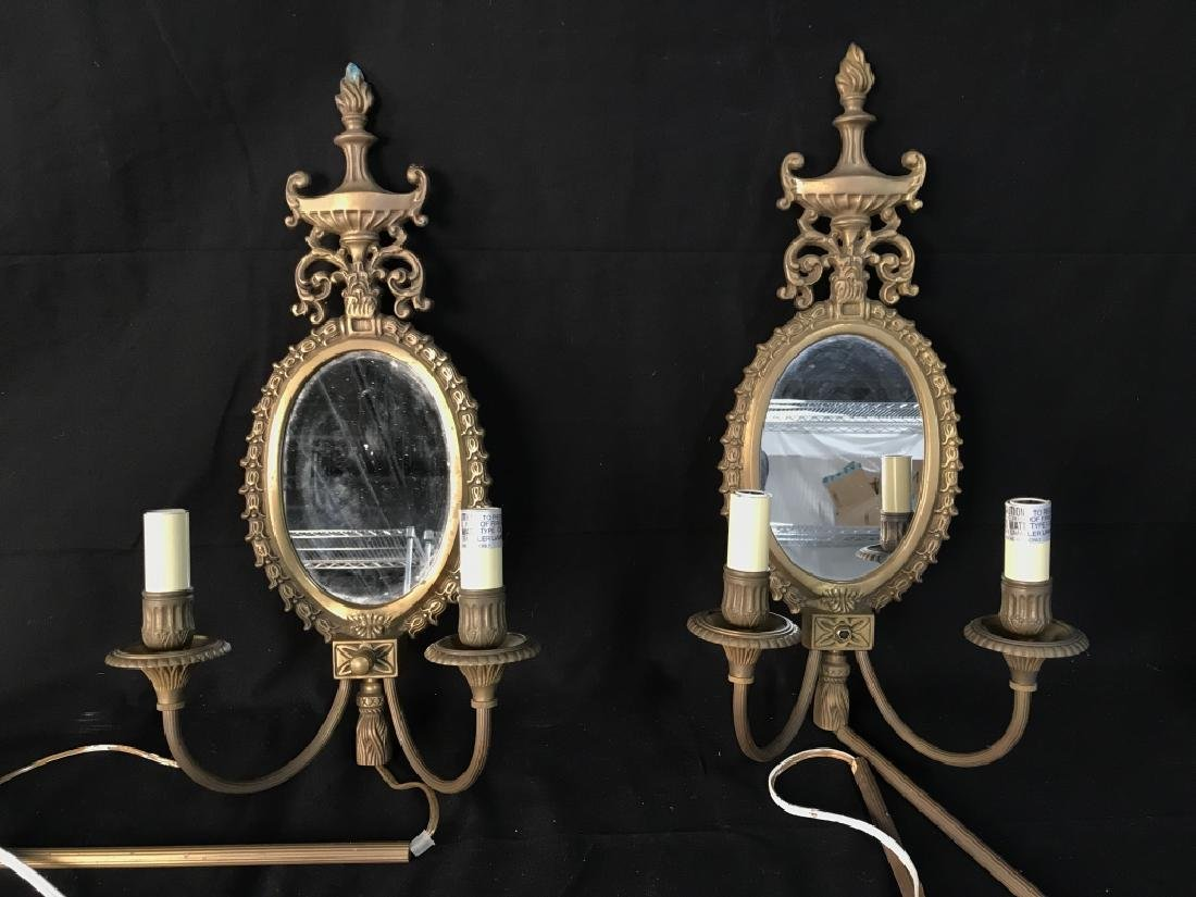 Pair Wall Sconces With Electrified Candelabras - 2