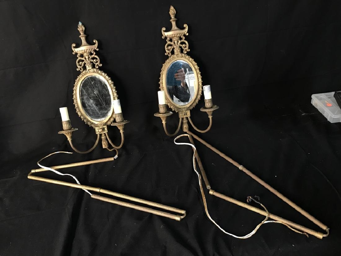 Pair Wall Sconces With Electrified Candelabras - 6