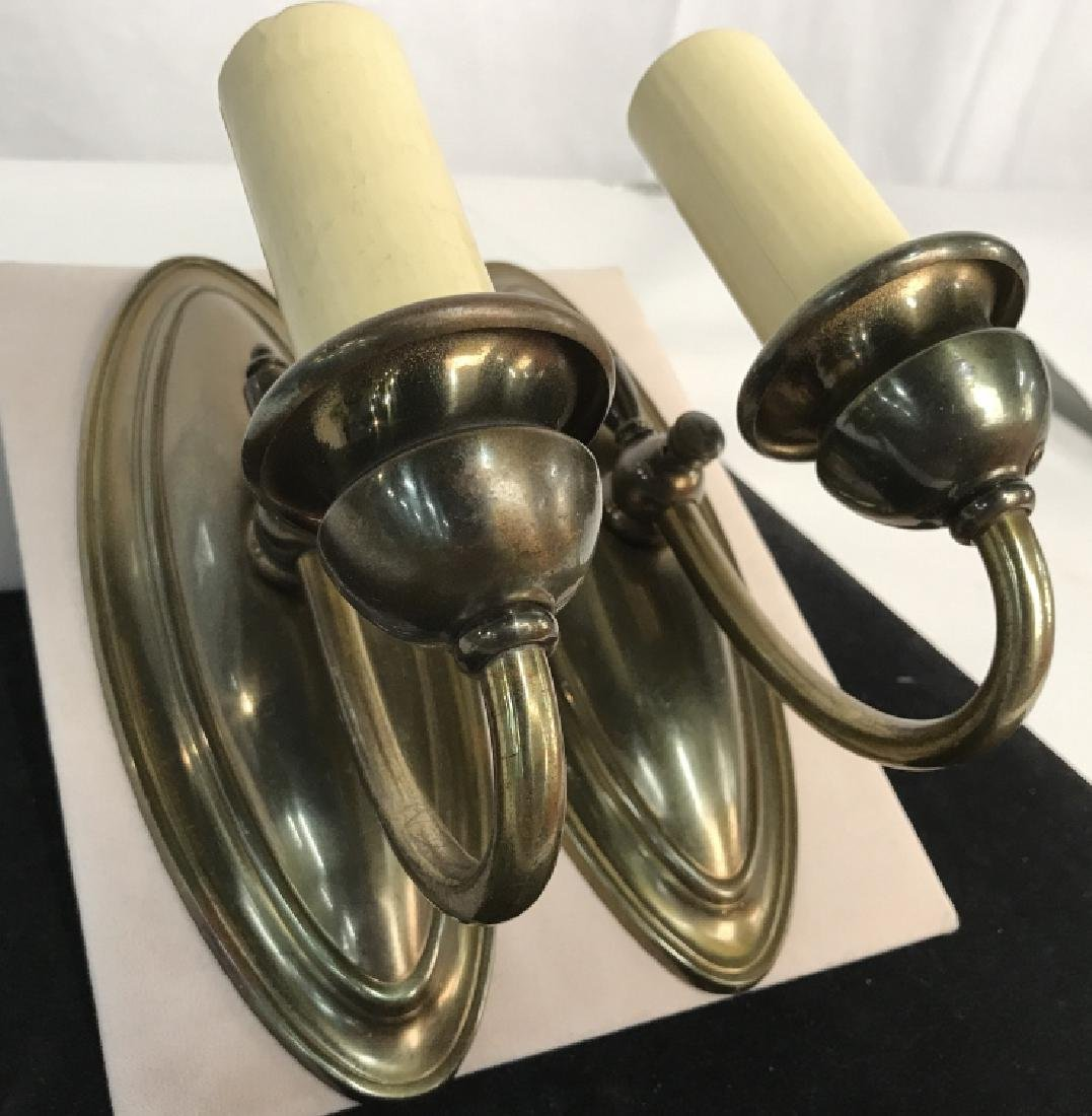 Vintage Pair Brass Toned Wall Sconces - 2