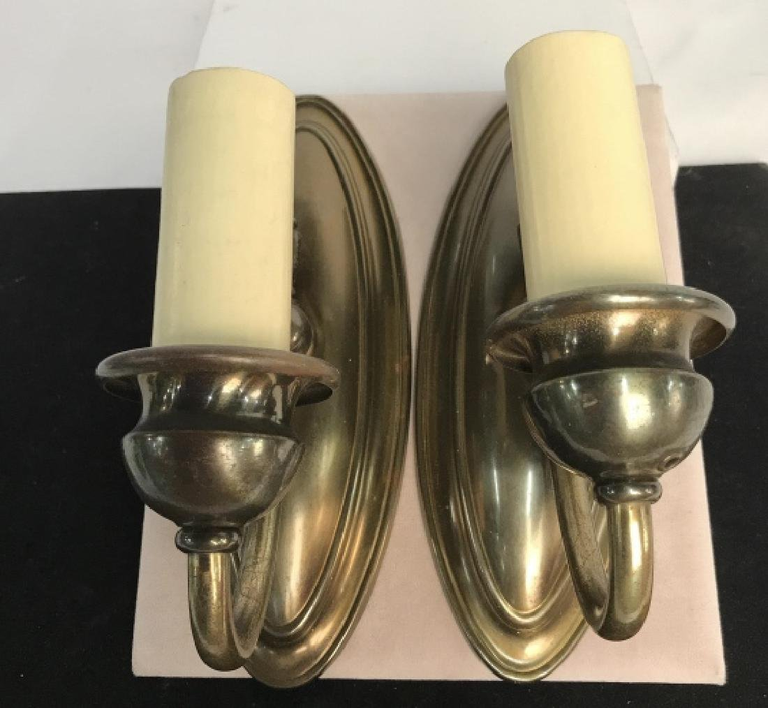 Vintage Pair Brass Toned Wall Sconces - 3