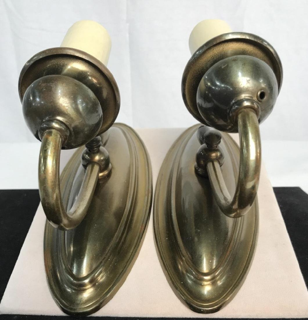 Vintage Pair Brass Toned Wall Sconces - 4