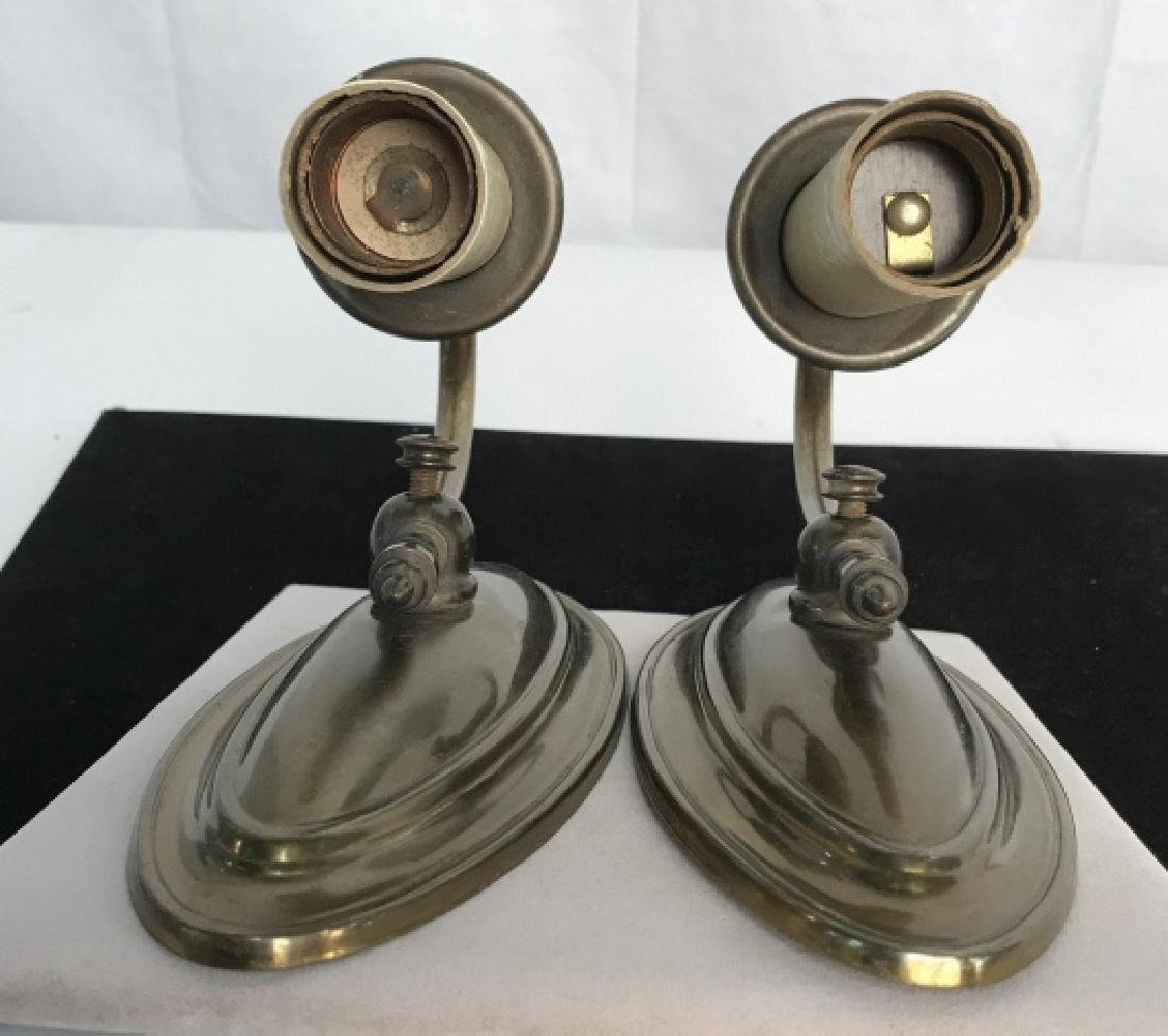 Vintage Pair Brass Toned Wall Sconces - 5