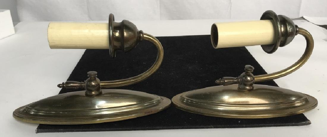 Vintage Pair Brass Toned Wall Sconces - 7