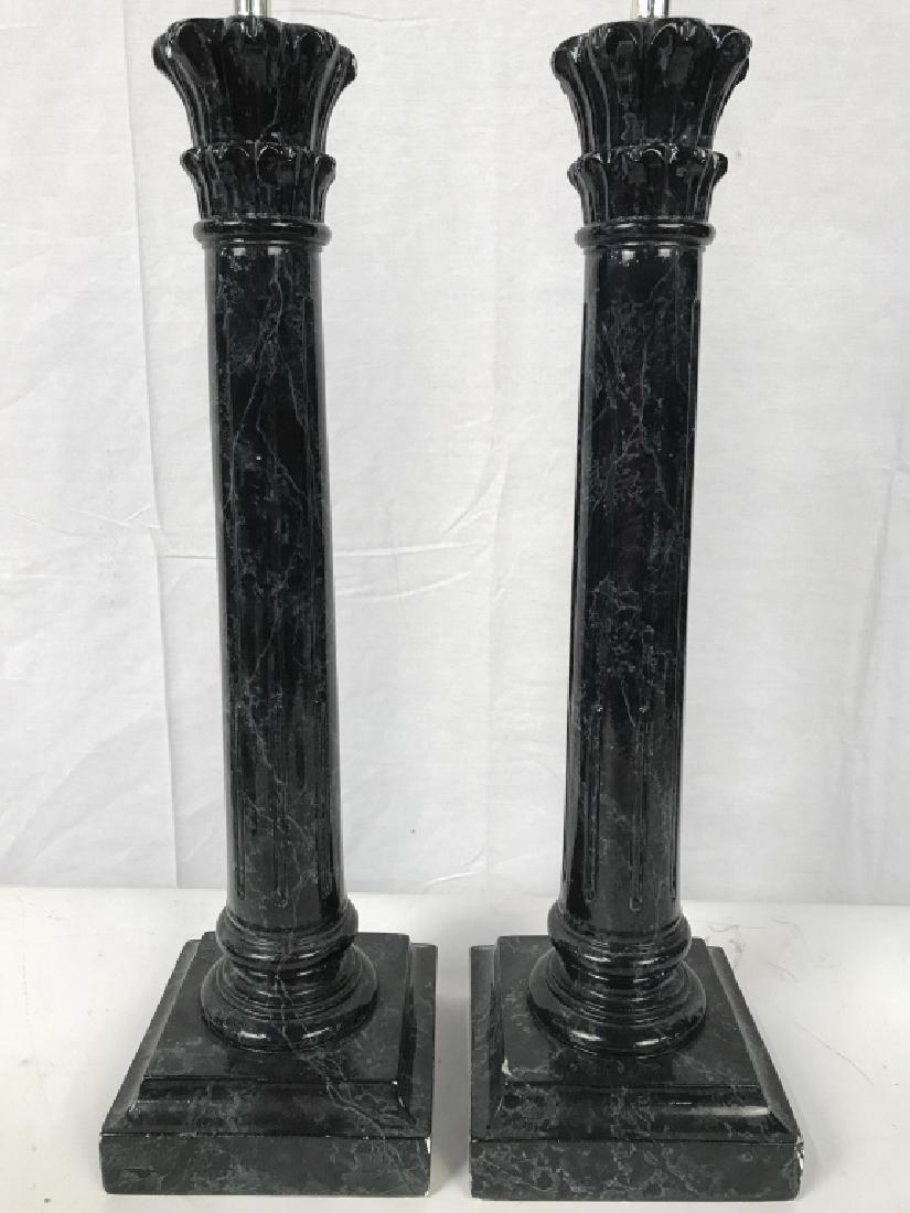 Pair black Toned Composite Pillar Style Lamps
