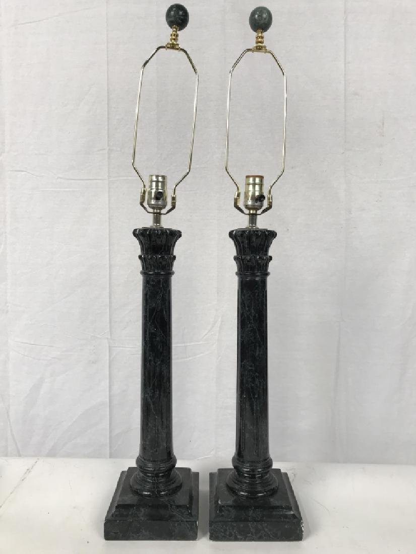 Pair black Toned Composite Pillar Style Lamps - 2