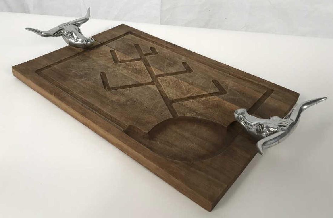 Rustic Wooden Platter Tray W Longhorn Head Handles - 10