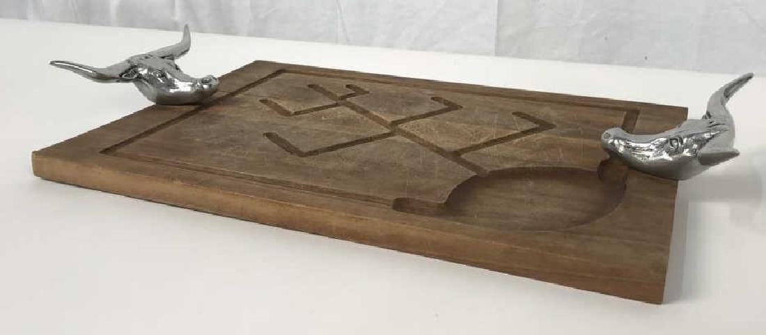 Rustic Wooden Platter Tray W Longhorn Head Handles - 2