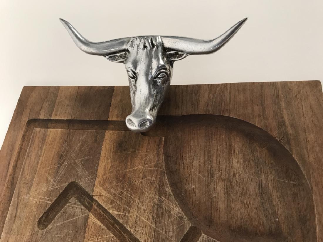 Rustic Wooden Platter Tray W Longhorn Head Handles - 3