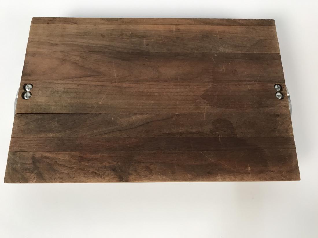 Rustic Wooden Platter Tray W Longhorn Head Handles - 6