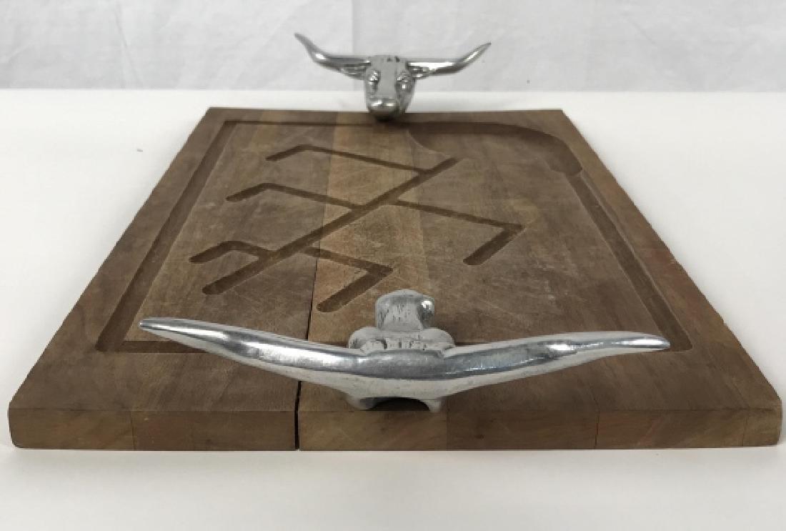 Rustic Wooden Platter Tray W Longhorn Head Handles - 8