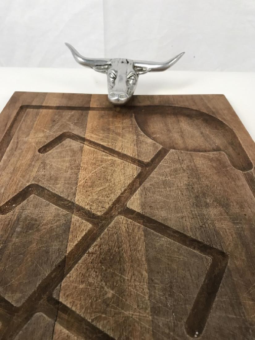 Rustic Wooden Platter Tray W Longhorn Head Handles - 9