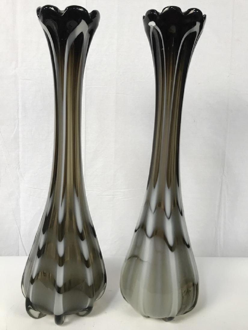 3 Ft Tall Pr Venetian Style Art Glass Vases