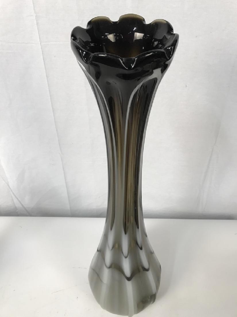 3 Ft Tall Pr Venetian Style Art Glass Vases - 8