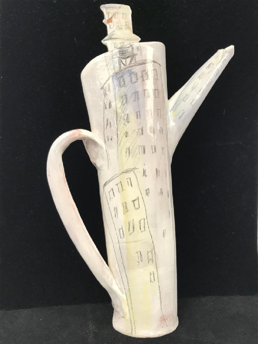 Signed Handmade and Painted Pottery Tall Pitcher - 2