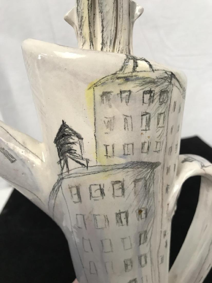 Signed Handmade and Painted Pottery Tall Pitcher - 7