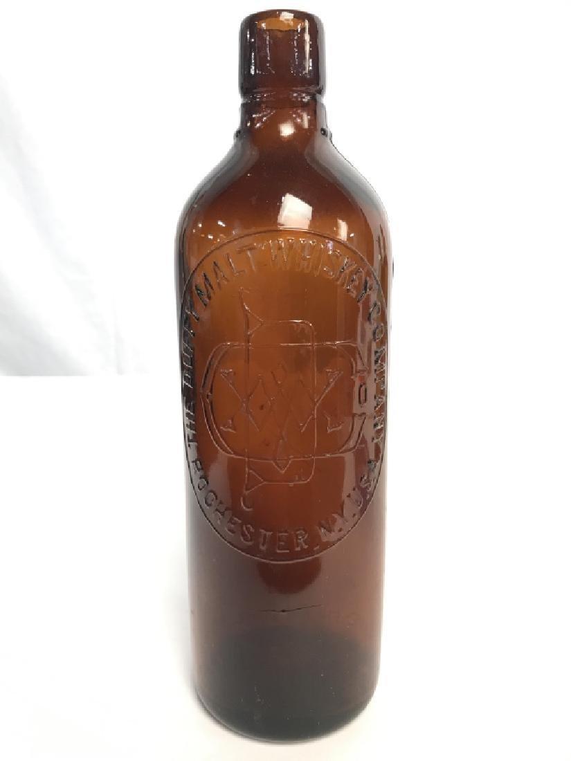 Lot 3 Amber Toned Glass Bottles - 2