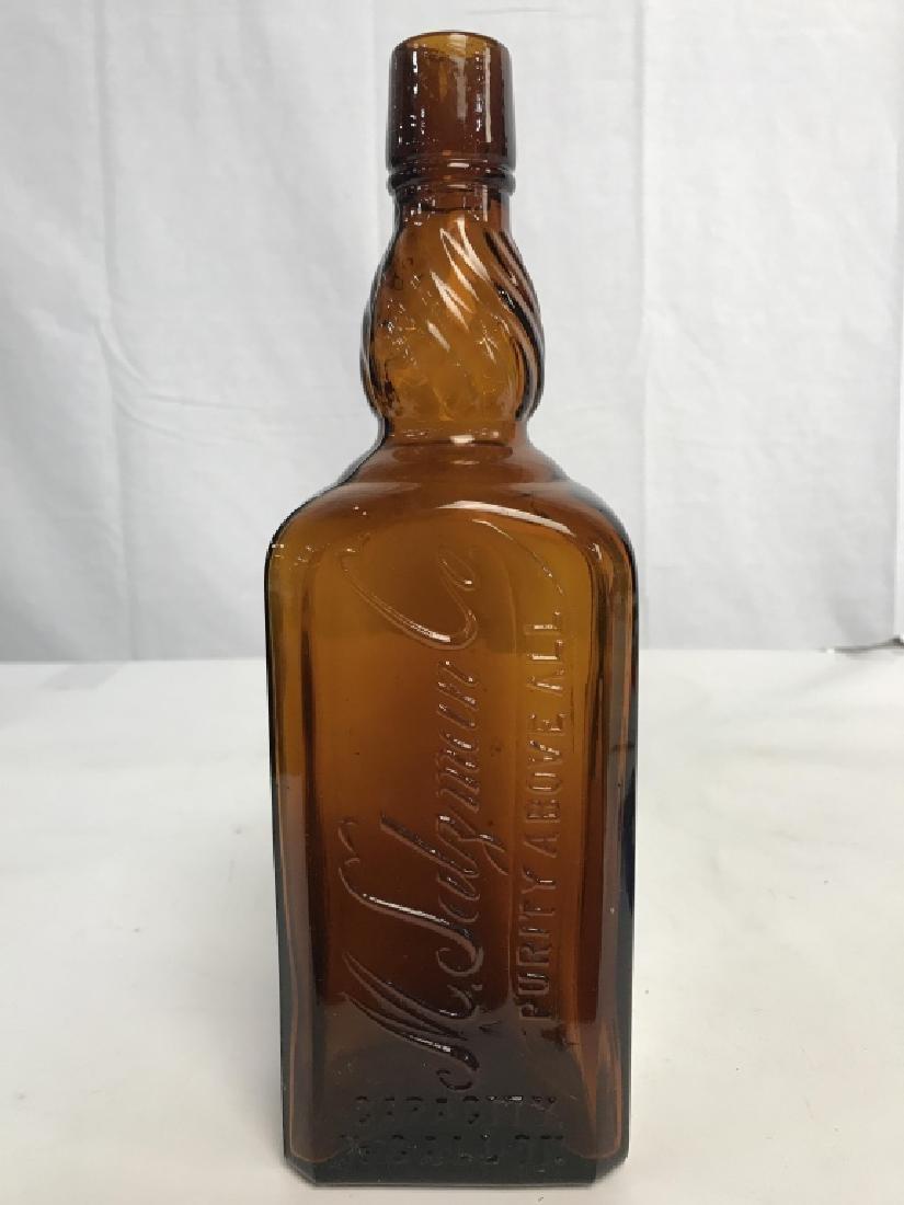 Lot 3 Amber Toned Glass Bottles - 4