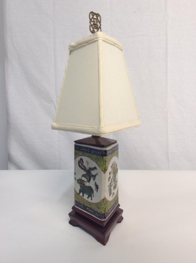 Asian Desk Lamp On Red Wood Base - 3