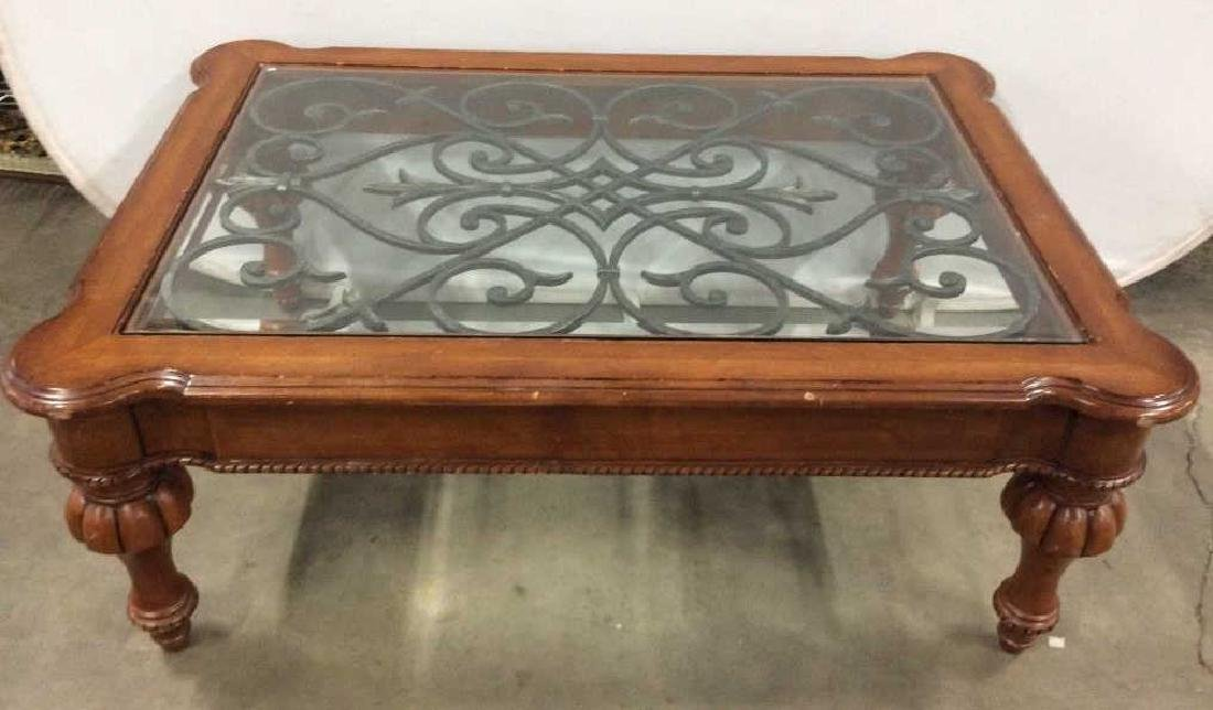 Ethan Allen Wooden Glass Top Coffee Table