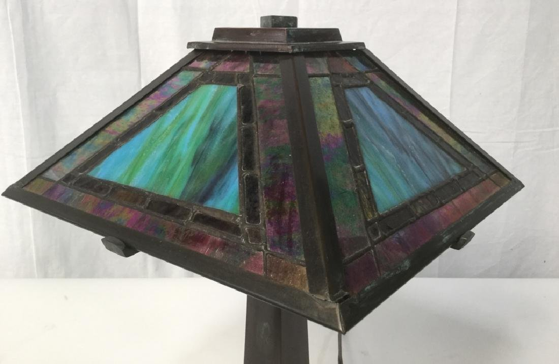 Tiffany Style Stained Glass Shade Lamp - 2