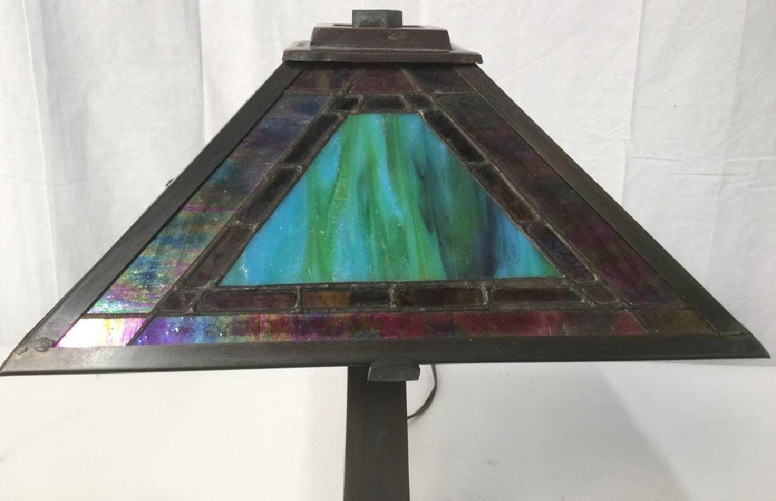Tiffany Style Stained Glass Shade Lamp - 3