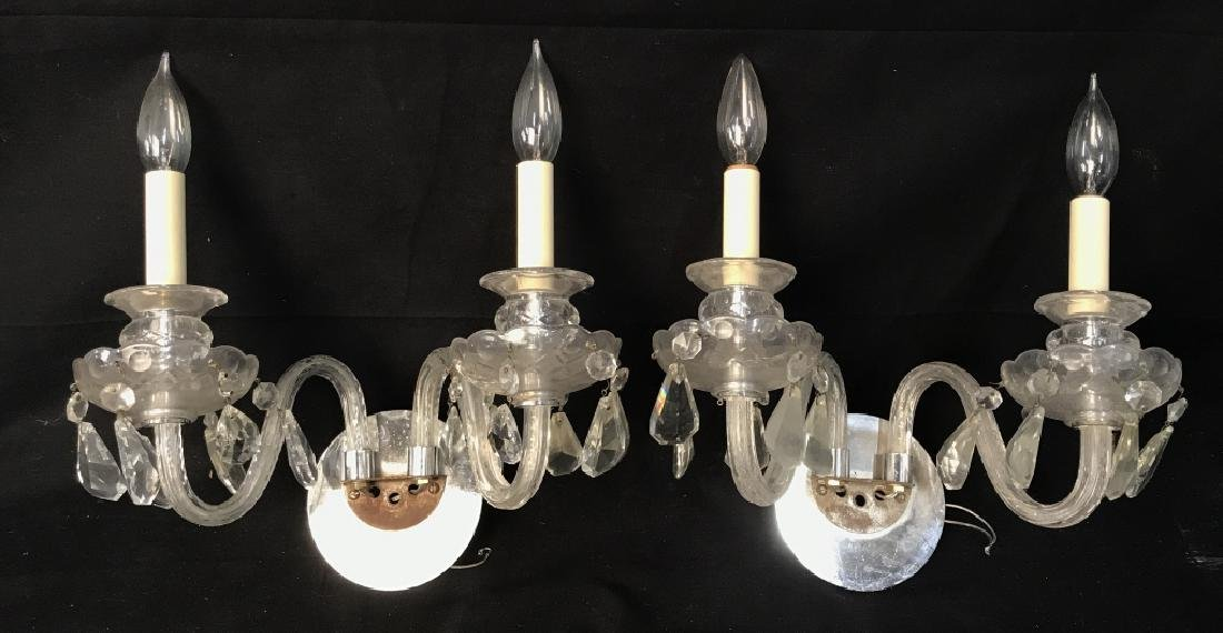 Pair of Double Arm Glass Crystal Wall Sconces
