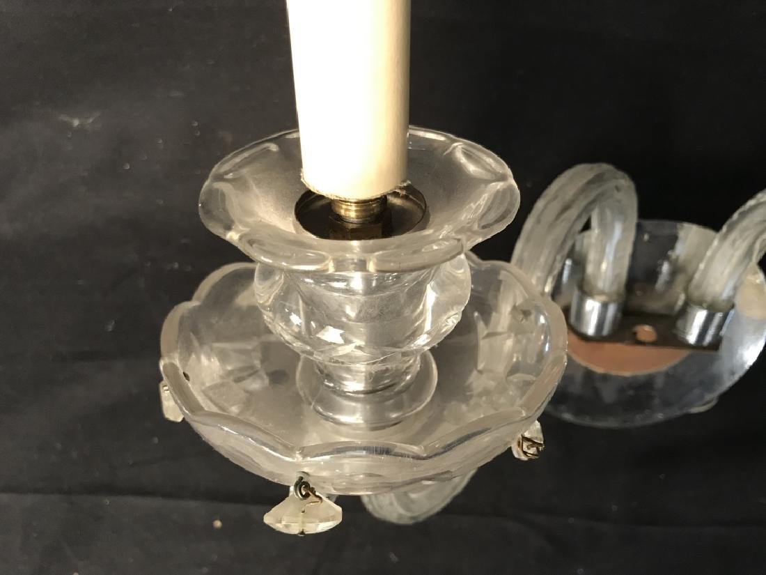 Pair of Double Arm Glass Crystal Wall Sconces - 5