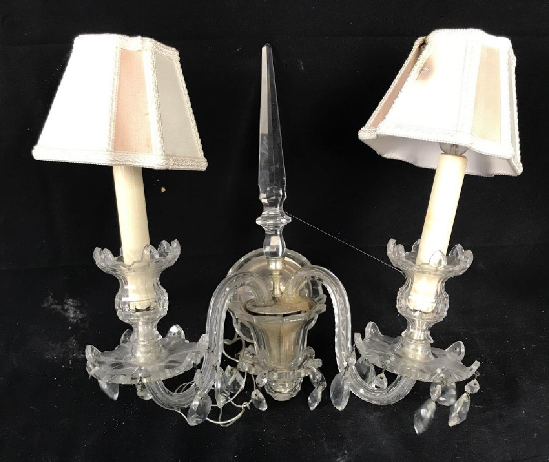 Pair of Double Arm Glass Crystal Wall Sconces - 4
