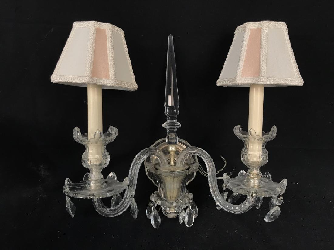Pair of Double Arm Glass Crystal Wall Sconces - 9