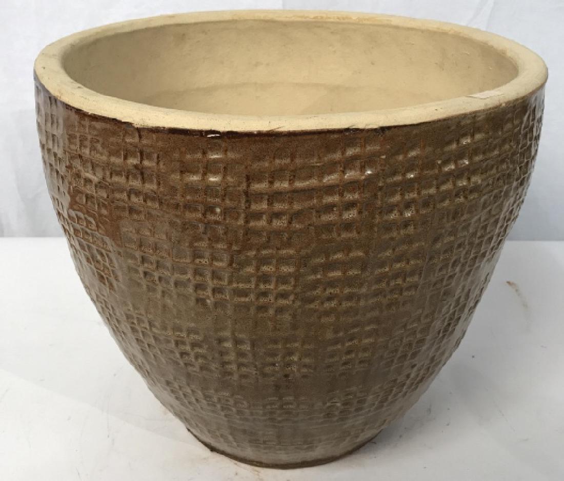Textured Ceramic Tan Toned Planter - 2