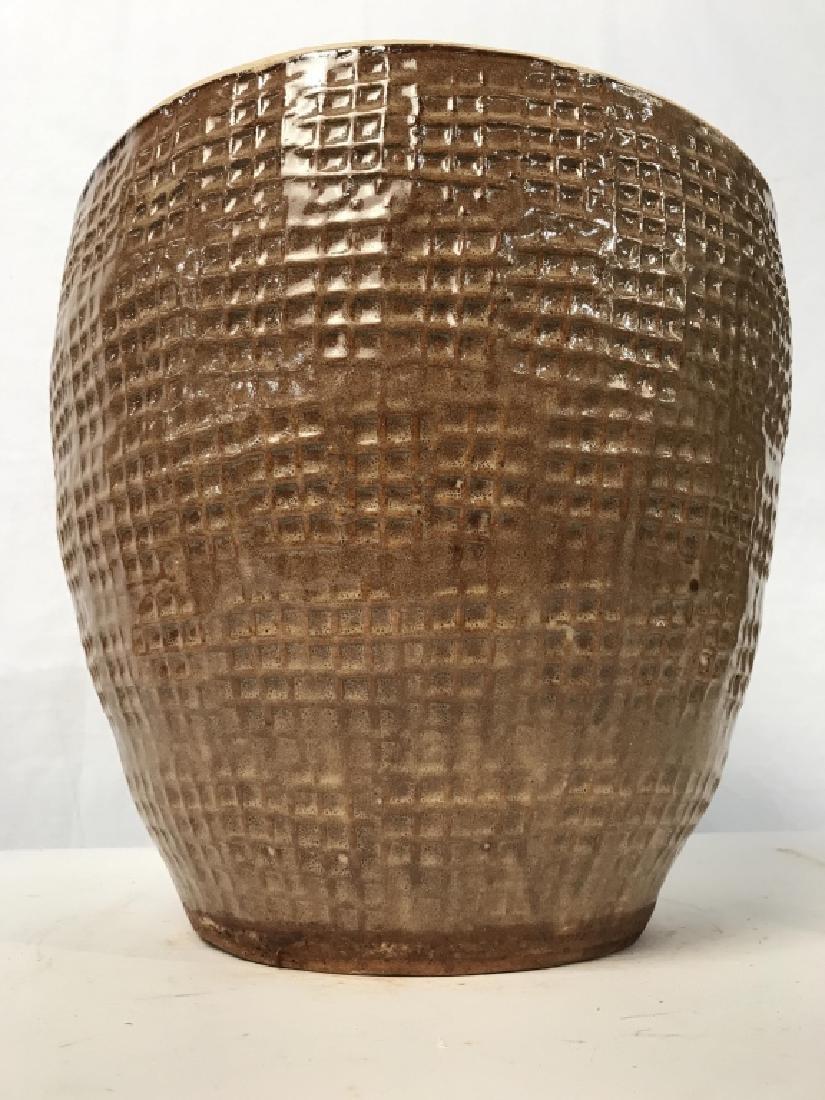 Textured Ceramic Tan Toned Planter - 4