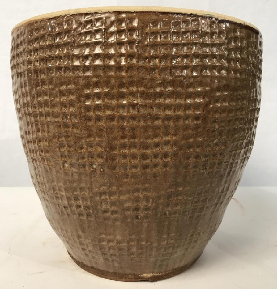 Textured Ceramic Tan Toned Planter - 7