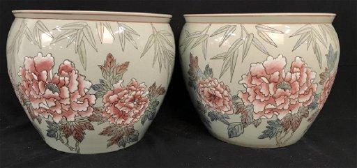 Oriental Ceramic Porcelain Planter Pots