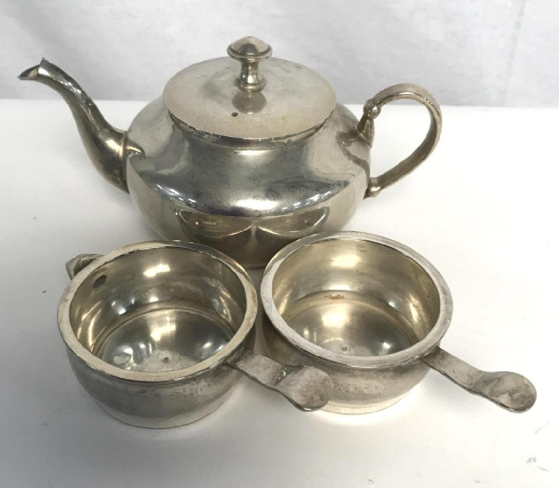 Lot 3 Silver Tone Tea Pot and Serving Dishes