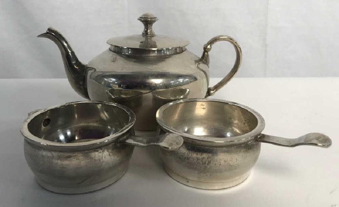 Lot 3 Silver Tone Tea Pot and Serving Dishes - 2