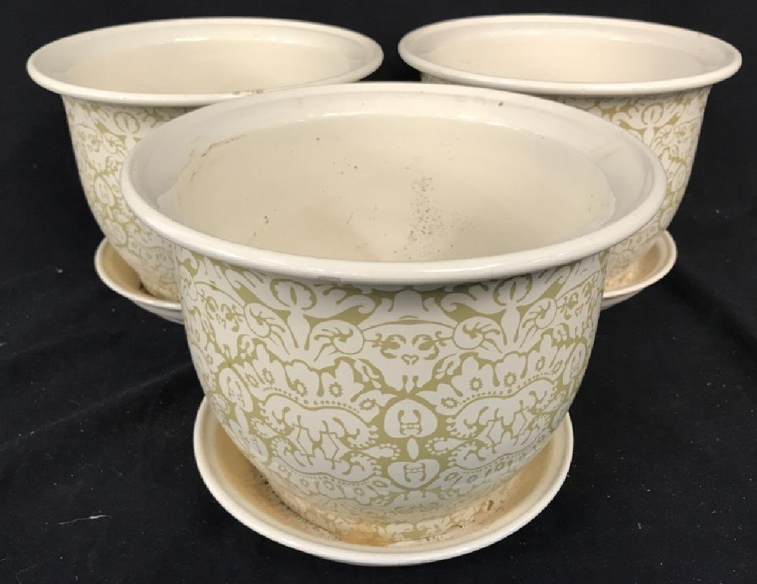 Lot 3 Patterned Planters W Saucer