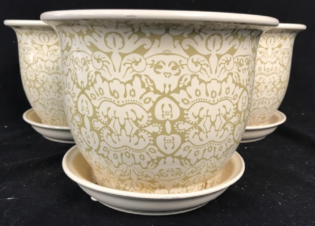 Lot 3 Patterned Planters W Saucer - 2