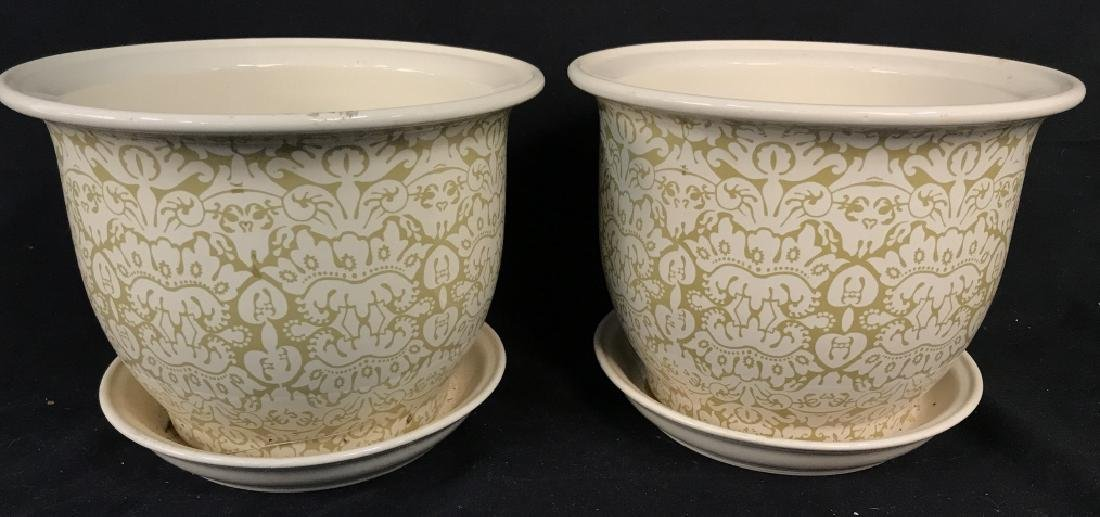 Lot 3 Patterned Planters W Saucer - 3