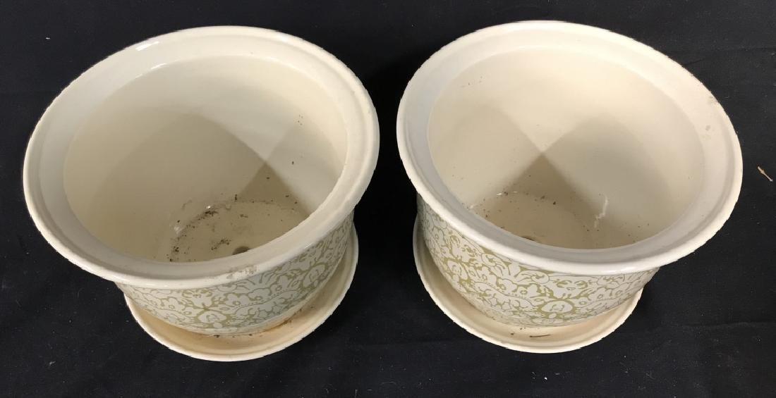 Lot 3 Patterned Planters W Saucer - 4