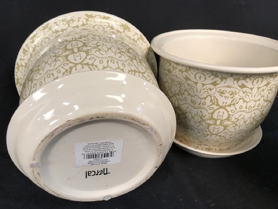 Lot 3 Patterned Planters W Saucer - 6