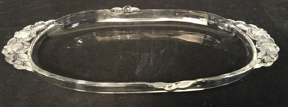 Glass Serving Dish W Frosted Glass Details - 2