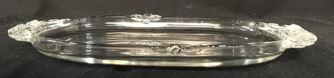 Glass Serving Dish W Frosted Glass Details - 4