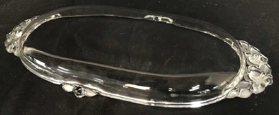 Glass Serving Dish W Frosted Glass Details - 5