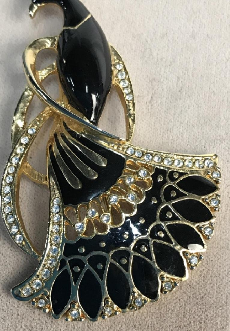 Black Enameled Gold Toned And Peacock Brooch - 2