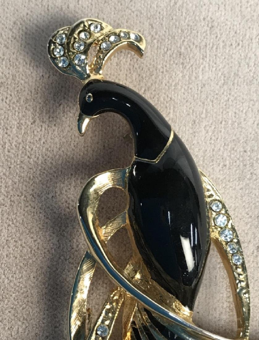 Black Enameled Gold Toned And Peacock Brooch - 3